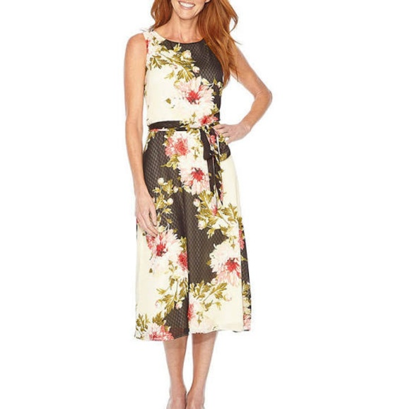 Perceptions Fit Flare Floral Dress